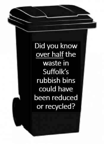 black bin, with text over half that goes in black bin could be recycled