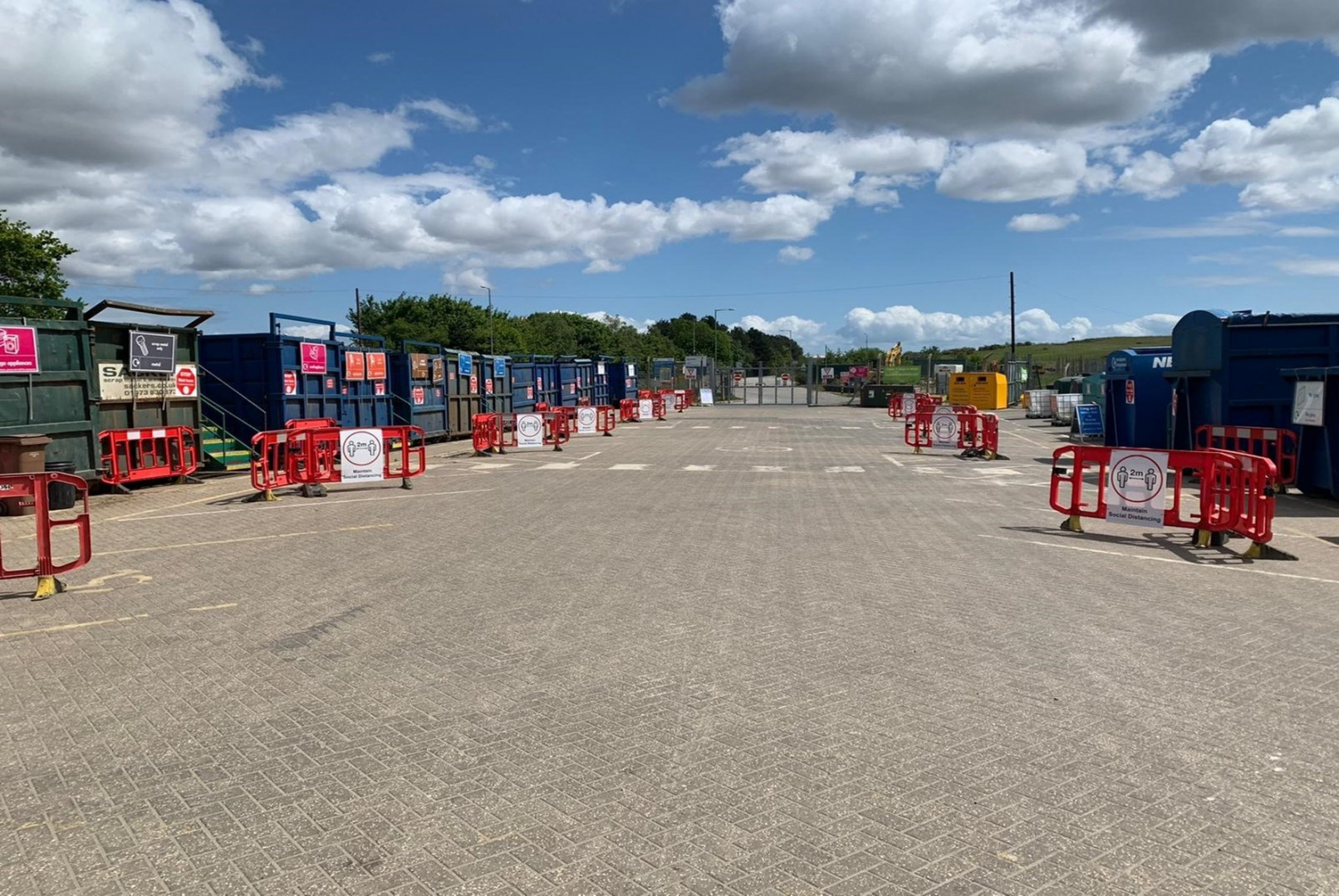 Foxhall Recycling Centre with social distancing measures e.g. marked out parking bays
