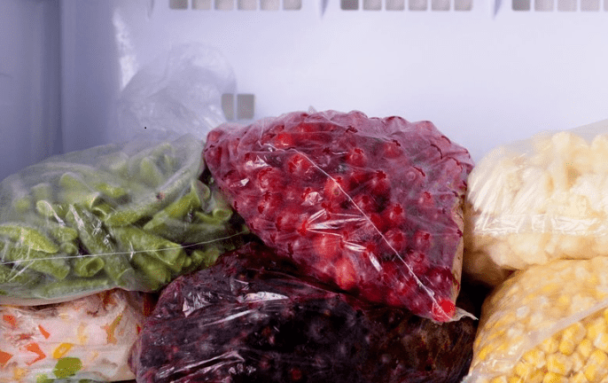 Bagged food in a freezer